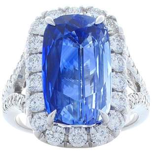 PGS Certified 11.79 Carat Cushion Blue Sapphire and