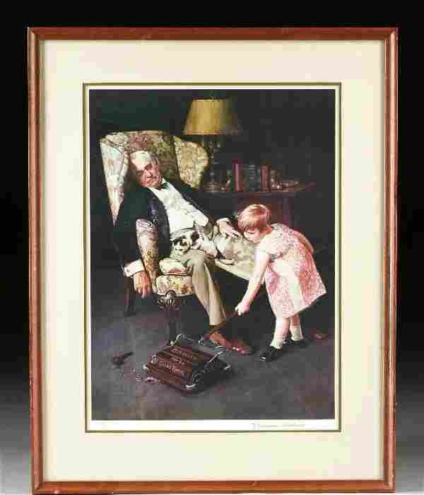 VERY RARE NORMAN ROCKWELL LITHOGRAPH HAND SIGNED