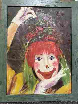 "Cheerful Clown, Oil Painting, 27"" x 20.5"""