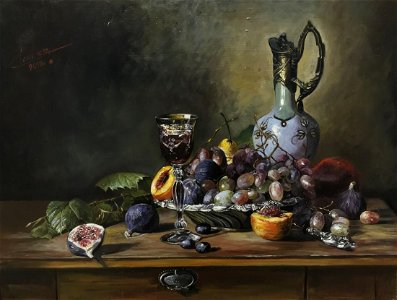 Cortez - Still life with a goblet of red wine