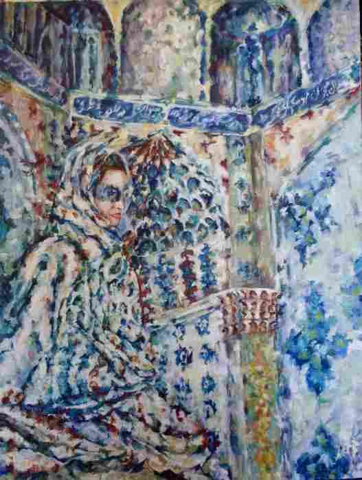 Women Behind Shadows II, 4' x 3', oil painting