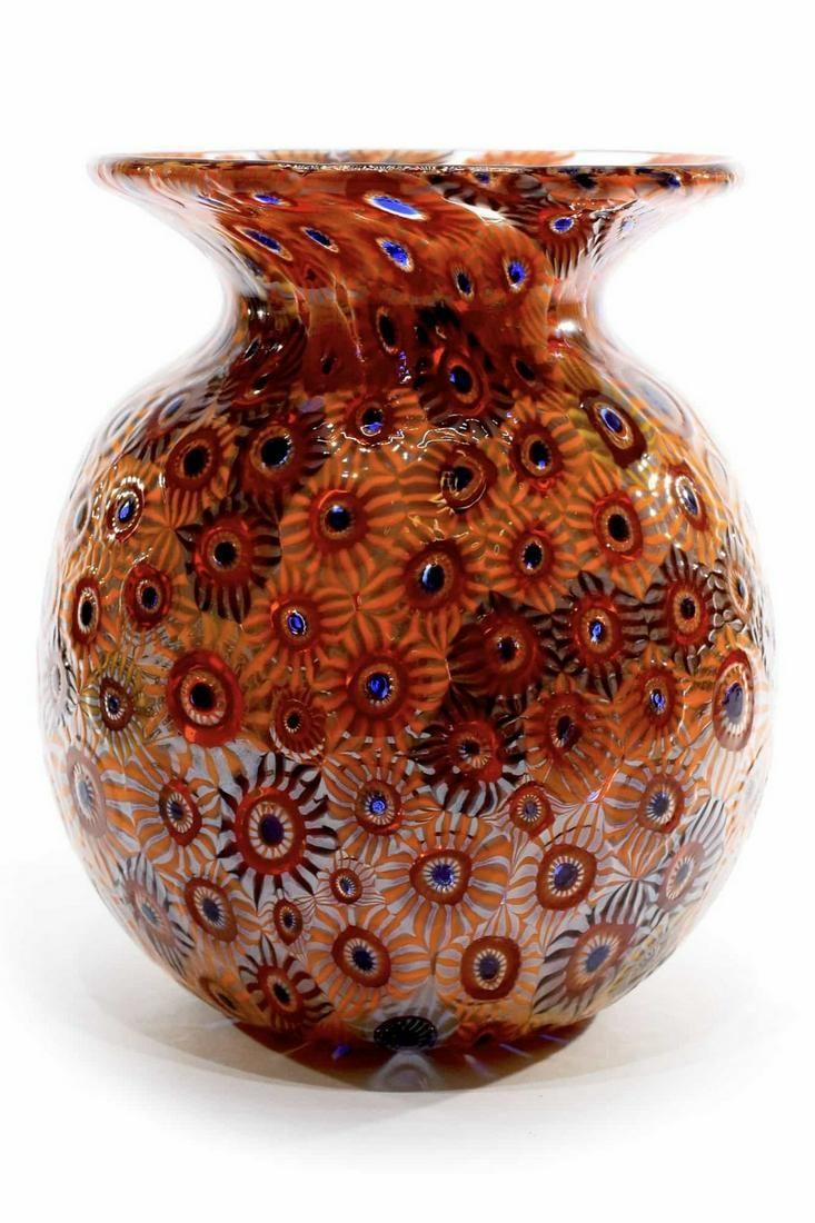 Murano glass vase with murrine signed