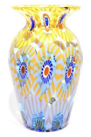 Murano glass millefiori vase signed