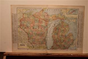 1890 Map of Michigan and Wisconsin