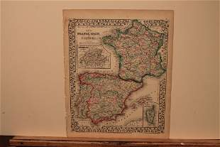 1867 Map of France, Spain and Portugal
