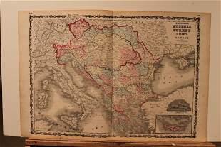 1865 Map of Austria, Turkey and Greece