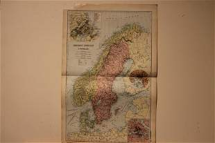 1892 Map of Norway and Sweden