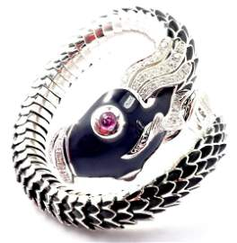 Roberto Coin Nemo 18k White Gold Diamond Ruby Enamel