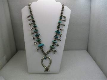 Vintage Southwestern Turquoise Squash Blossom Necklace,