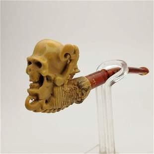 Gothic Skull,Hand carved Meerschaum Cigarette Holder