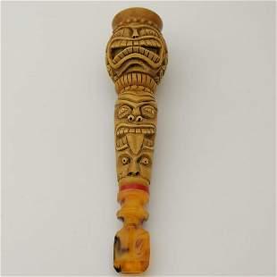 Native Indian,Hand carved Meerschaum Cigarette Holder.