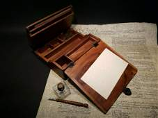 Folding Writing Slope Lap Desk Box with Inkwell Pen Ink