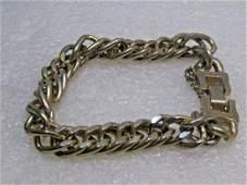 "Vintage Chunky Curb Link Bracelet, 7"", Safety Chain,"