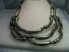 Vintage Boho Triple Strand Curved Necklace - Chunky -