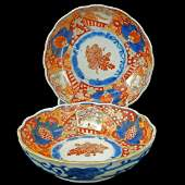 Pair 19th C Japanese porcelain colored Imari bowls