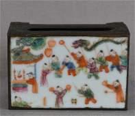 19c Chinese porcelain & brass MATCH BOX HOLDER boys
