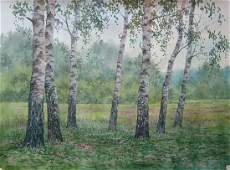 Watercolor painting Birch thicket Kalebets Valery