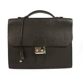 Hermes Sac a Depeches 27 Black Togo Leather Briefcase