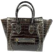 CELINE Brown Crocodile Medium Phantom Luggage Tote Bag