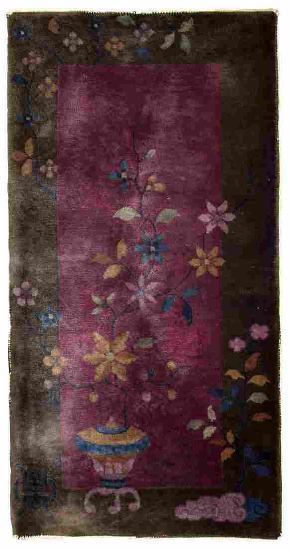 Handmade antique Art Deco Chinese rug 1.10' x 3.10'