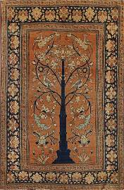 Pre-1900 Antique Vegetable Dye Tabriz Haj Jalili