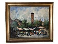 Lot of 4 Cirano Castelfranchi Milano scene paintings