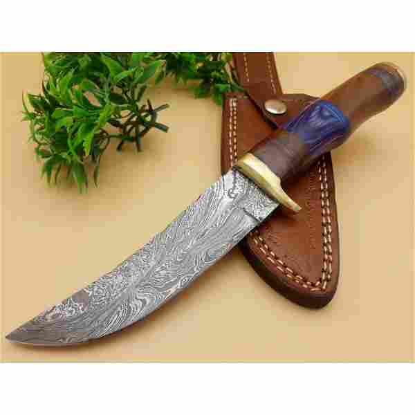 Bowie dagger hunting damascus steel knife wood camping