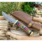 Everyday carry hunting damascus steel knife wood brass