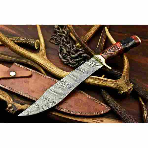 Bowie hunting damascus steel knife wood camping