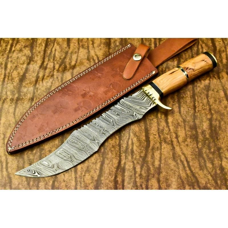 Bowie combat hunting damascus steel knife wood camping