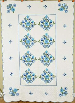 Matched Pair of Applique Quilts