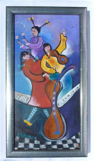 A colorful Painting of musicians signed N. Bargebuhr