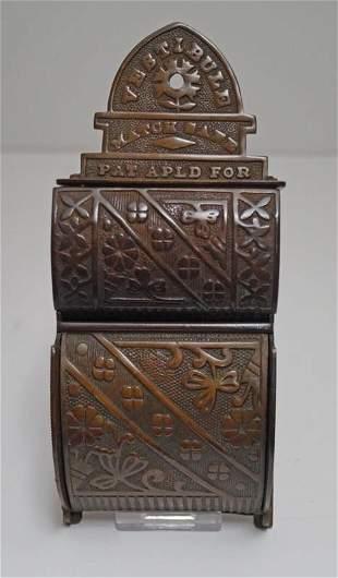 Antique Advertising Vestibule Brass Match Safe 1888
