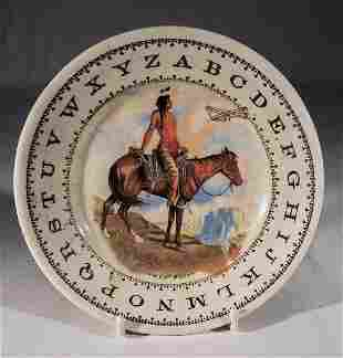 """""""WHAT NEXT"""" - American ABC Plate with Wright Bro's Plan"""