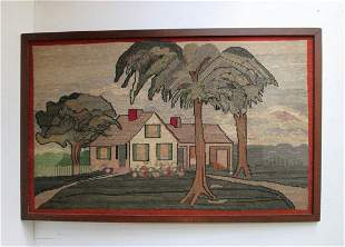RARE PETIT POINT HOOKED RUG