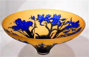 """Cameo Glass Shade Signed """"Nien"""""""