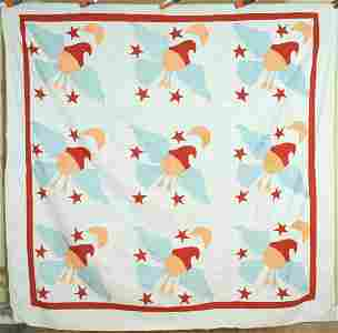 1910's Eagle, Stars & Moon Quilt Top