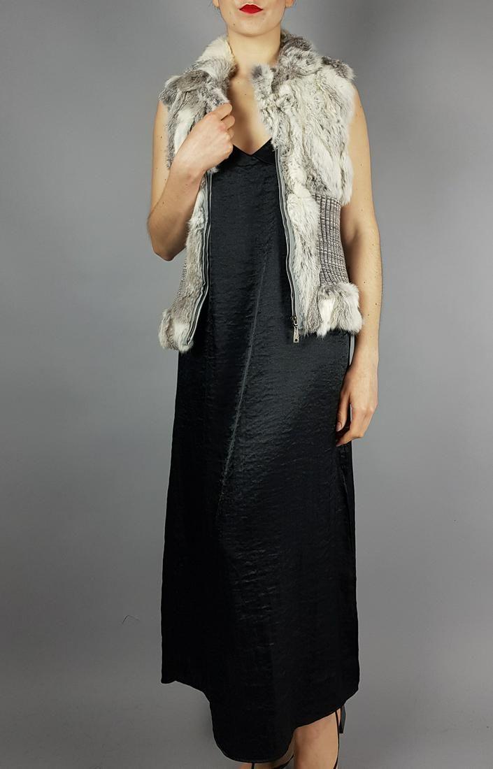 Grey White Rabbit Fur Vest Gilet