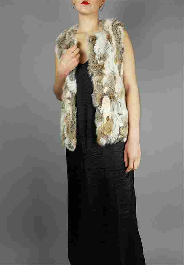Brown Grey White Rabbit Fur Gilet Vest
