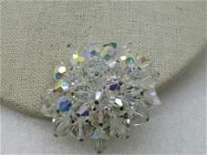 """Vintage Aurora Borealis Crystal Brooch, 1.75"""""""
