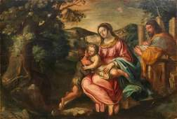 Large Painting after Titian, Roman school 17th