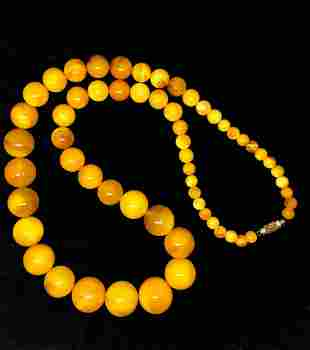 Stunning Unique Antique Amber Necklace made from Round