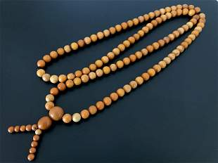 Antique German amber 108 beads mala necklace