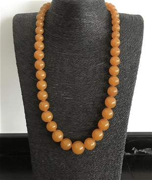 Impressive Vintage Amber Necklace made from Round Amber