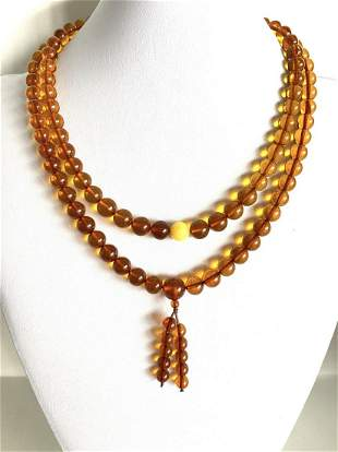 Unique and Beautiful Amber Mala made from Round Amber
