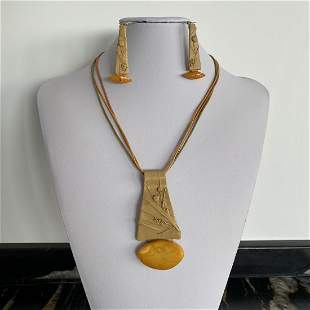 Vintage Leather Amber Earrings and Necklace set