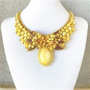 Magnificent Vintage Amber Floral Necklace made from