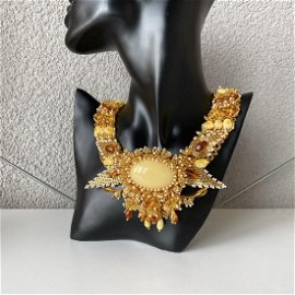 Amazing Unique Vintage Amber Floral Necklace made from