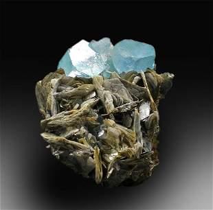 Aquamarine Specimen , Natural Aquamarine Crystals with