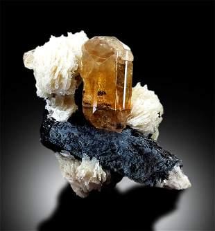 Topaz Crystals with Schorl on Albite from Skardu